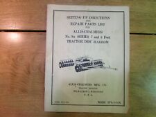 Vintage Allis Chalmers 9a Tractor Disc Harrow Set Up Directions Manual Parts