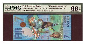 Fiji 2016 2017 7 Dollars PMG Certified Banknote UNC 66 EPQ Gem Rugby Commem