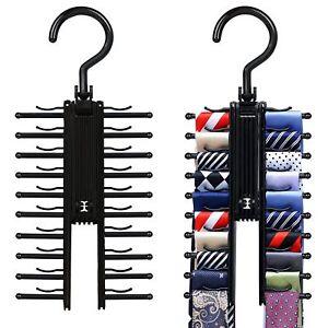 2 Pack IPOW 360º Tie  Rack Organizer Hanger Non-Slip Belt Clips Holder Black