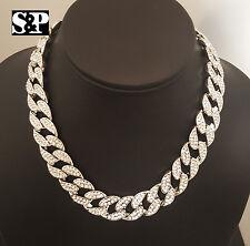 "New Hip Hop Men Quavo Iced Out 15mm 16"" Miami Cuban Choker 2 Chains Necklace Set"