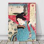 """Vintage Japanese Kabuki Art CANVAS PRINT 16x12"""" Geisha~ Kunichika #18"""