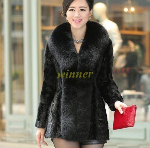 Womens Fox Fur Winter Warm Fur Furry Winter Thick Jacket Coat Outwear Parka coat