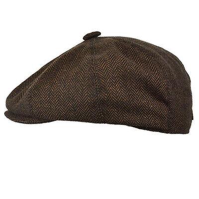 NEW BROWN TWEED HERRINGBONE 8 PANEL COUNTRY FLAT GATSBY NEWSBOY BAKER BOY CAP