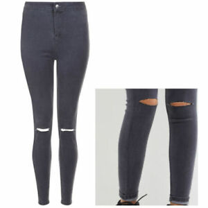 100% quality various styles double coupon Details about Ladies New Look High Waisted Super Skinny Ripped Jeans Grey  Sizes 10 & 12