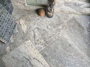 Travertin Natursteinfliesen Fliese Steinfliesen Boden Wand Silver - Steinfliesen für den boden