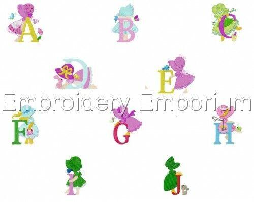 Sunbonnet fille Alphabet Collection-Machine Embroidery Designs sur cd ou USB