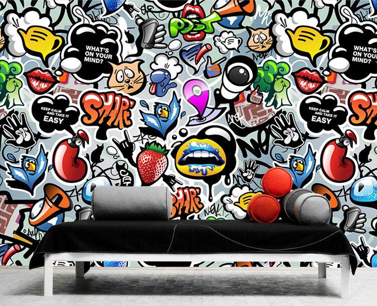3D 3D 3D Gekritzel Muster Karikatur 9 Tapete Wandgemälde Tapeten Bild Familie DE Lemon | Neuankömmling  c98c8a