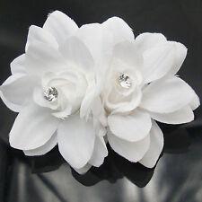 Women White Chiffon Lily Rhinestone Hair Clips Chic Headdress Flower For Wedding