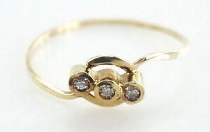 Zierlicher-585er-Gold-Ring-Achtkant-Diamanten-14-Karat-0-76-Gramm-Gr-53