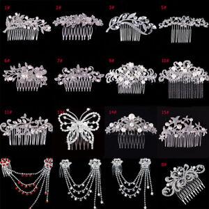 Femme-Cristal-Strass-Perle-Pince-epingle-a-cheveux-fleur-peigne-bijoux-mariage