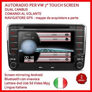 AUTORADIO-2-Din-7-034-Vw-Golf-Polo-Touch-2-din-Navigatore-MP3-BLUETOOTH-GPS-DVD