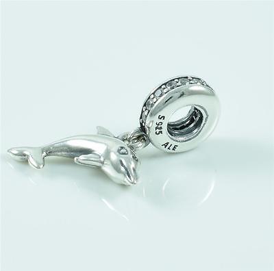 Authentic Genuine Pandora Silver Playful Dolphin Charm Bead 791541CZ