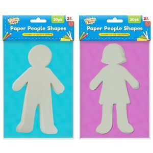 20 Paper People Cut Outs Paper Shapes Boy Girl Options Kids Art
