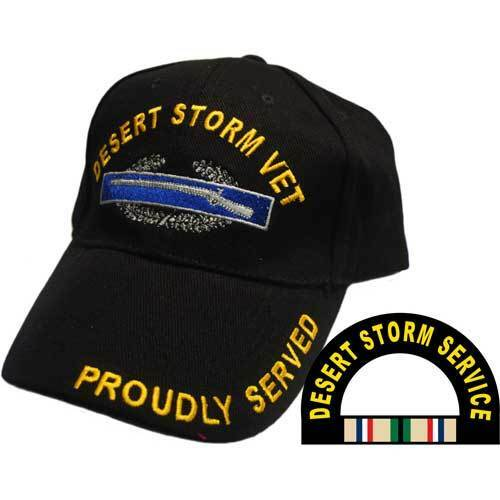 DESERT STORM VETERAN PROUDLY SERVED SERVICE RIBBON EMBROIDERED MILITARY HAT CAP