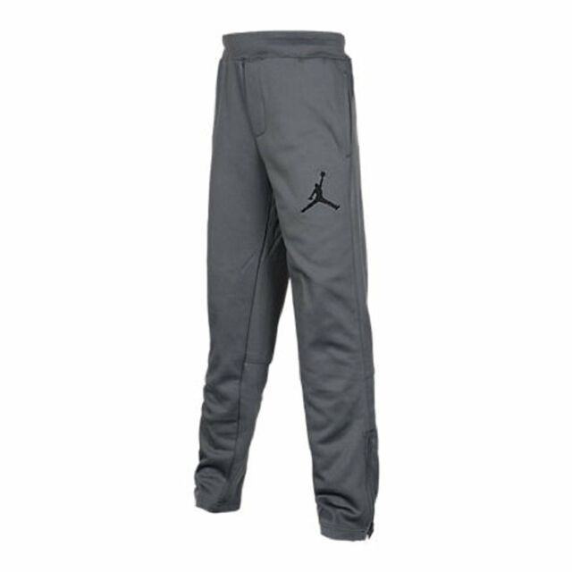 584a2ad66 Nike Jordan Boys grey zipper Therma-FIT Jogger Basketball Pants 953090 M L