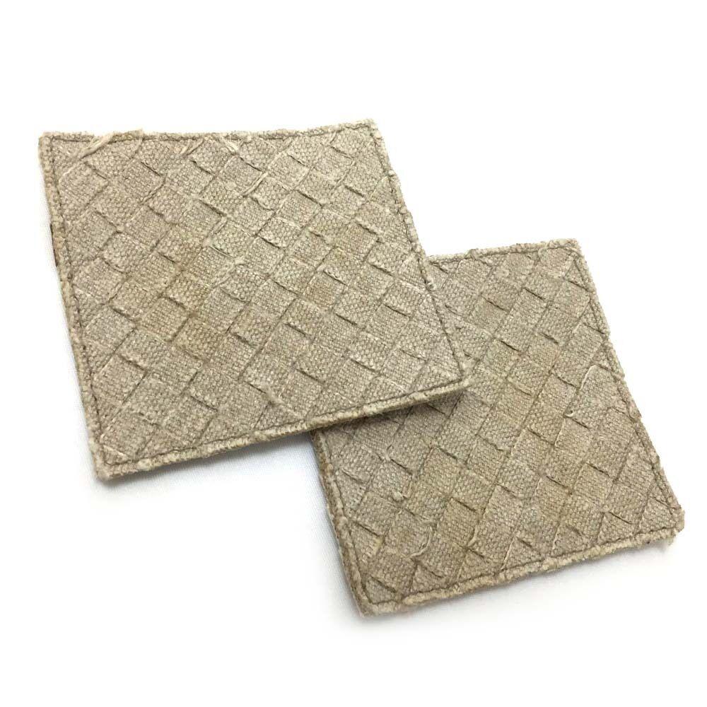 100% Authentic Bottega Veneta Intrecciato Beige Linen Coasters 2pc Set   3009y