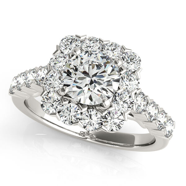 2.15 CT FOREVER ONE MOISSANITE ROUND MICRO PAVE HALO ENGAGEMENT RING