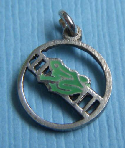 Vintage enamel frog on ladder silver charm