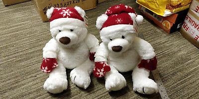 2 Amazon Bianco Natale Teddy Bears Vera Nuovo Di Zecca 9th Giocattolo Morbido Peluche Gund- Saldi Estivi Speciali