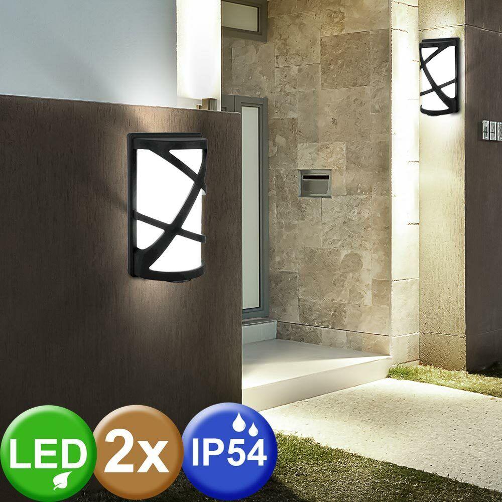 2x LED Lámparas De Parojo Alu Exterior Casa Puerta Iluminación del jardín Luces De Aluminio