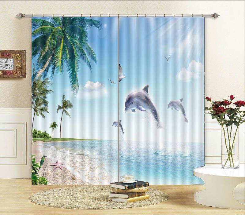 Delfini Palme Da Cocco 3D Tenda Bloccare Foto Stampa Tendaggio Drappo Tessuto Fi