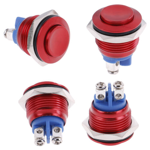 1PC 19mm waterproof red momentary metal push button reset switch high head WH