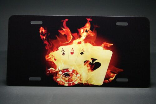 POKER PLAYER  METAL ALUMINUM CAR LICENSE PLATE TAG CASINO GAMBLER CARD PLAYER