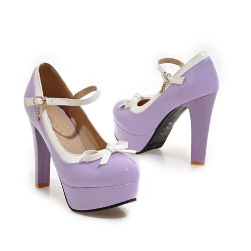 Fashion femme compensées à talons hauts cheville boucle Fête Chaussures nœud taille NOUVEAU