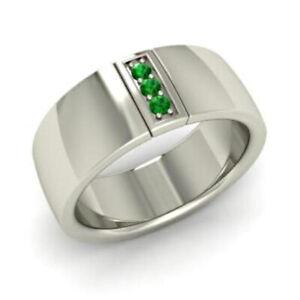 Natural-Emerald-Gemstone-925-Sterling-Silver-Men-039-s-Ring-SR4857