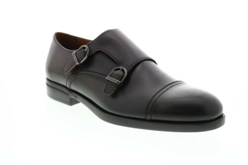 Bruno Magli Barone Mens Brown Leather Oxfords /& Lace Ups Monk Strap Shoes