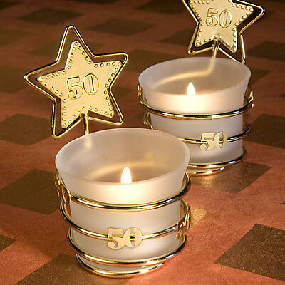 36 - Gold Star 50th Anniversary / Birthday Candles - Free US Shipping