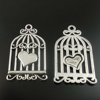 30X Vintage Style Silver Tone Alloy Bird Cage Heart Pendant Charm 30*20mm