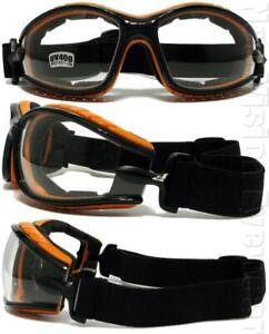 Shatterproof Foam Padded Motorcycle Goggles Smoke Mirror Color Frame 457