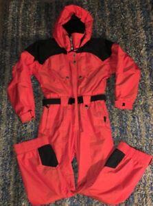 Vintage-OBERMEYER-WOMEN-039-S-SIZE-12-RED-SKI-SNOWSUIT-FULL-ZIP-Body-p