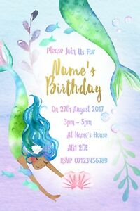 Mermaid-Party-Personalised-Invitations-and-Envelopes-x-10