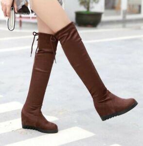 Lady Womens Winter Hidden Wedge Heels Over Knee High Boots Thigh Shoes Outdoor D
