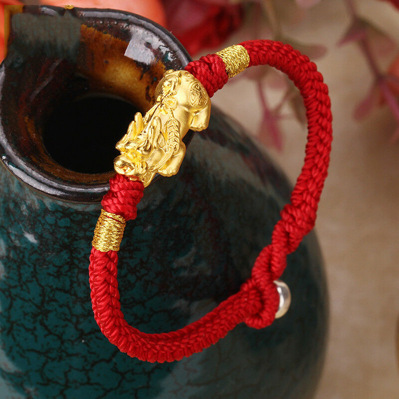 New Solid 24K Yellow gold Wealth Pixiu Bead Red Knitted Bracelet 16cm