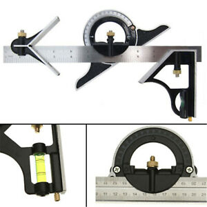 12-034-Combination-Measuring-Angle-Tool-Rule-Tri-Square-Ruler-Steel-Machinist-30cm