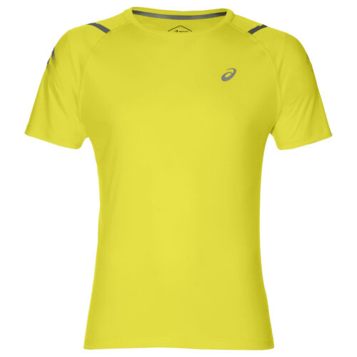 Asics Icon Short Sleeve Mens Running Fitness Training T-Shirt Tee Yellow