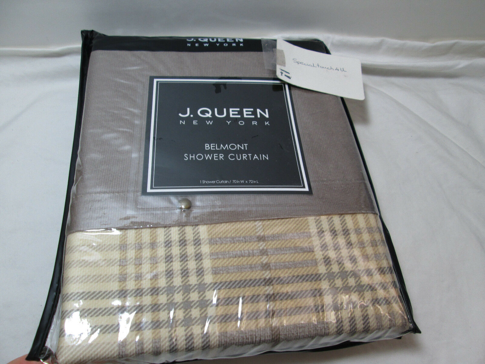 NEW J Queen New York BELMONT Fabric Shower Curtain Solid Plaid Tan