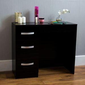 Hulio High Gloss 3 Drawer Dressing Table Black Makeup