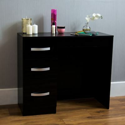 Hulio High Gloss 3 Drawer Dressing Table Black Makeup Computer Desk Furniture