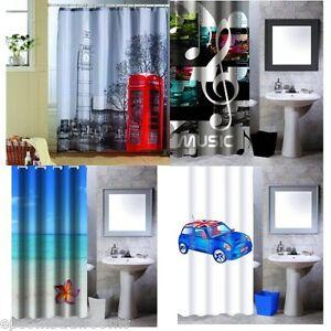 Polyester Shower Curtain 180 x 200 cm London Paris Mini New York ...