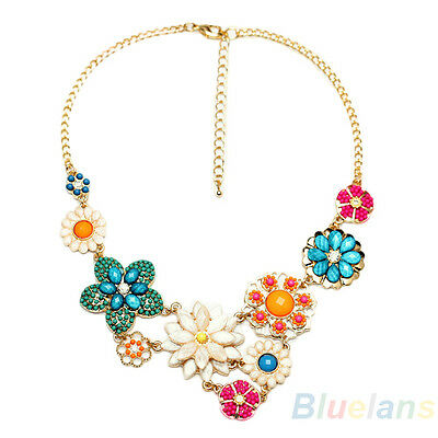 Women Boho Flower Charm Choker Bib Collar Statement Necklace Jewelry Xmas Gifts