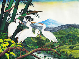 Hand-painting-Balinese-Storks-Cranes-288