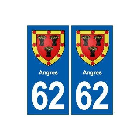 62 Angres blason autocollant plaque stickers ville -  Angles : droits