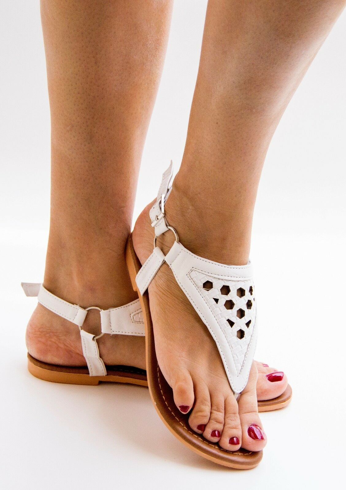 Women's Gladiator Buckle Style Ankle Strap Thong Flip Flops Style Buckle Flats Slingback c4580b