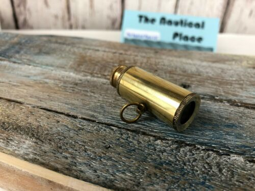 Brass Pocket Telescope Miniature Necklace Pendant Mini Hand Held Spyglass