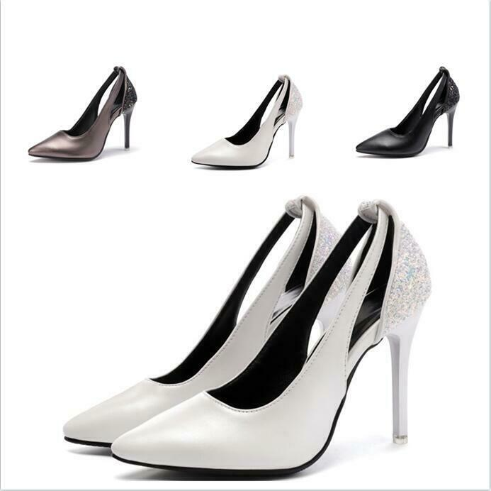 Damenschuhe Übergröße Pailletten Stiletto Sandalen High Heels Pumps Komfort Sexy