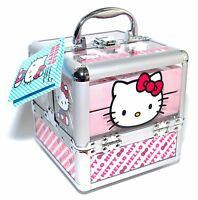 Hello Kitty Train Case Complete Cosmetic Makeup Nail Kit For All Princesses